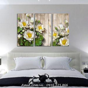 Hinh anh tranh phong thuy hoa Sen 3D treo tuong hien dai