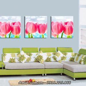 Tranh treo phong khach hoa tulip ghep bo hong