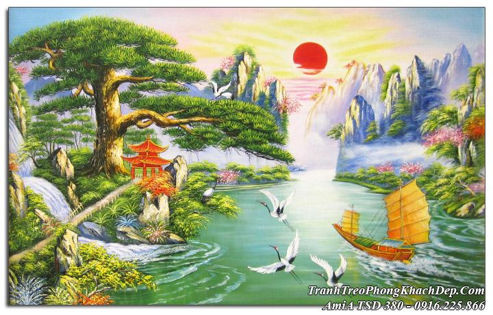 Tranh phong cảnh đẹp thuyền buồm sơn thủy TSD 380