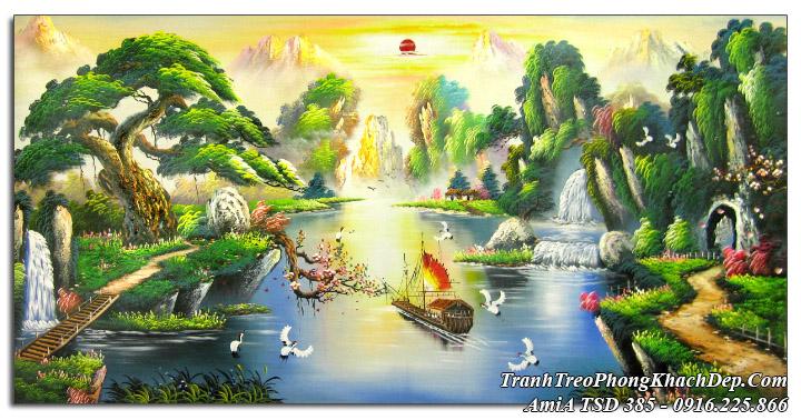 Tranh sơn dầu phong thủy sơn thủy cây cầu thác nước Amia tSD 385