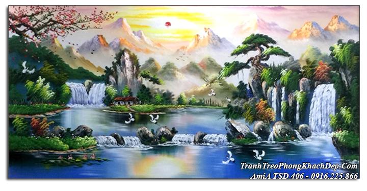 Tranh sơn thủy sơn dầu Amia 406 treo phòng khách ý nghĩa