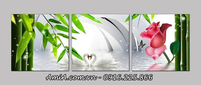 Hinh anh tranh 3D doi chim uyen uong treo phong khach lam qua tang dam cuoi