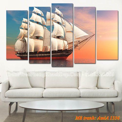Tranh đẹp treo phòng khách thuyền buồm Amia 1336
