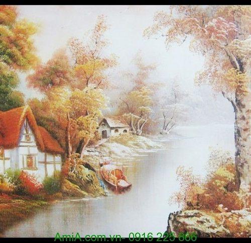Hinh anh tranh canvas nghe thuat ngoi nha nuoc ngoai chau au AmiA 4224