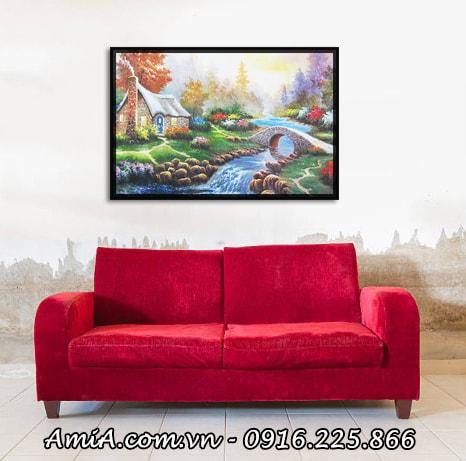 Hinh anh tranh canvas treo phong khach ngoi nha chau au AmiA 4226