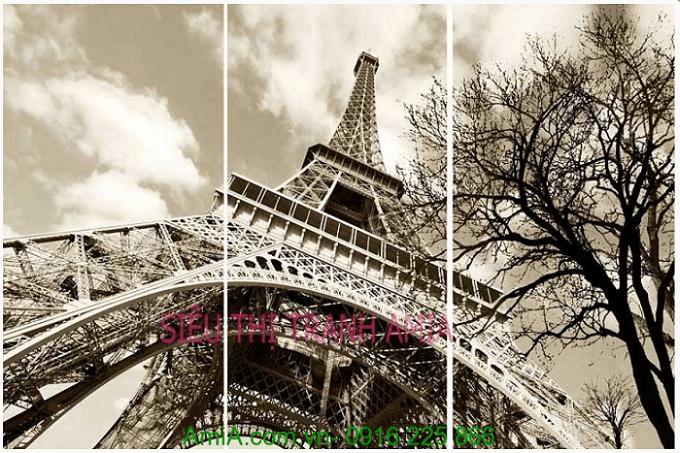 Hinh anh tranh thap Eiffel noi tieng nuoc Phap mang phong cach vintage