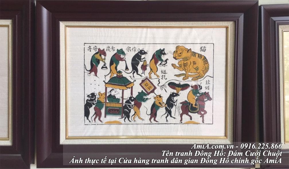 Tranh dam cuoi chuot kho nhỏ thuoc dong tranh dan gian Dong Ho