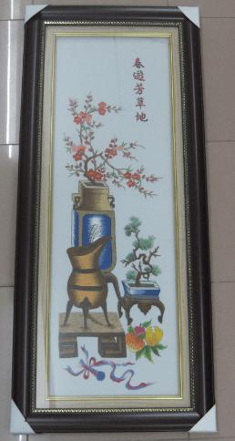 Hinh anh tranh theu binh hoa Dao mua Xuan