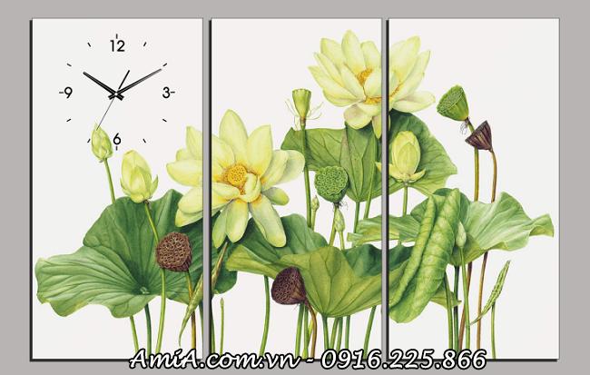 Mau tranh Sen trang 3D trang tri phong khach phong ngu deu dep AmiA 1396