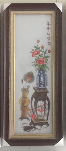 Hinh anh tranh theu binh hoa hong mua dong