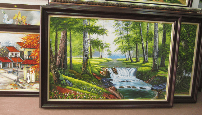 Tranh ve phong canh rung cay xanh tai cua hang tranh amia