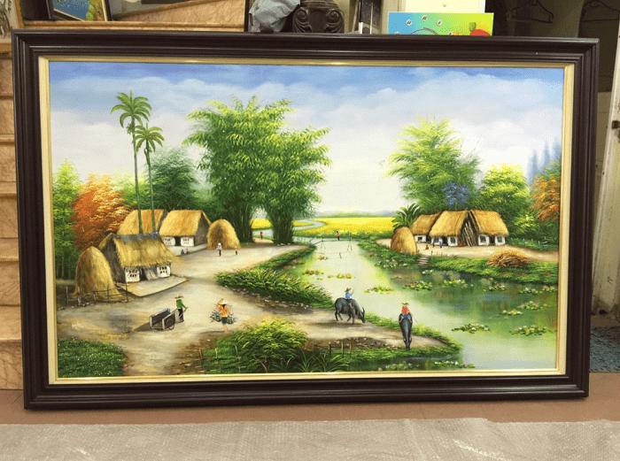 Tranh son dau lang que Viet Nam AmiA TSD 379 thực tế ở shop tranh AmiA