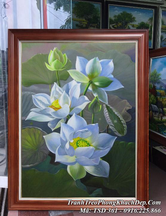 Tranh sơn dầu Amia tSD 361 thực tế tại AmiA tranh vẽ hoa sen