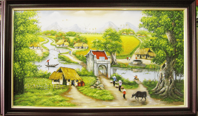 Buc tranh ve phong canh que huong dau lang que em TSD 378