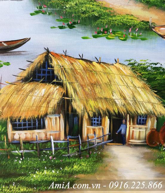 Mai nha tranh trong buc tranh son dau phong canh que huong