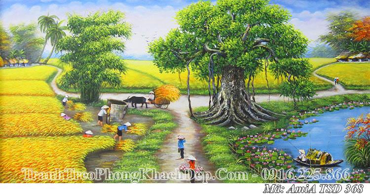 Tranh vẽ cảnh quê hương thu hoạch lúa ngày mùa AmiA 368