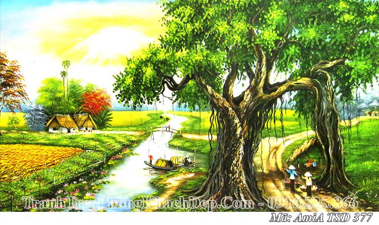 Tranh vẽ quê hương sơn dầu AmiA 377