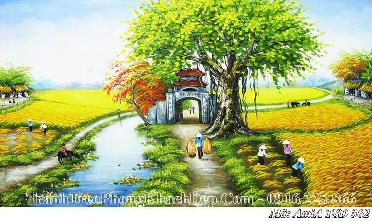 Tranh sơn dầu AmiA 362 vẽ cảnh gặt lúa chín ở đồng quê