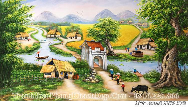 Tranh AmiA 378 vẽ cảnh quê hương dắt trâu về làng