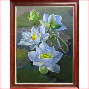 Tranh sơn dầu hoa sen trắng TSD 361