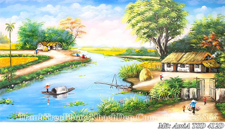 Tranh sơn dầu AmiA 412D vẽ phong cảnh quê hương làng quê