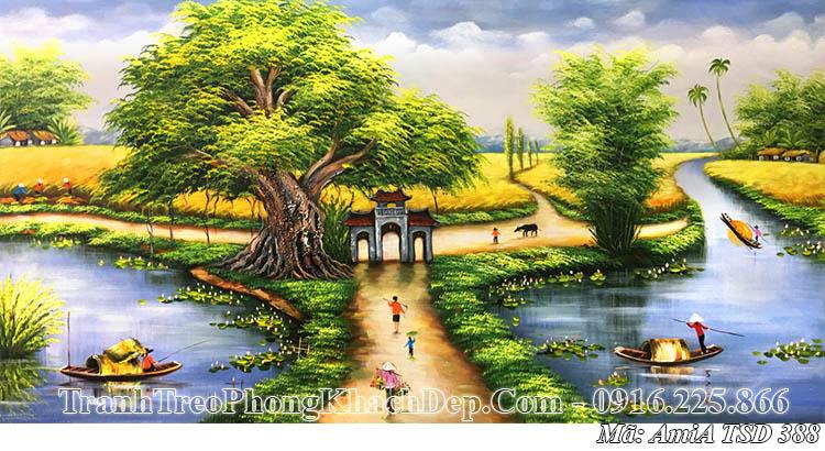 Tranh vẽ AmiA 388 phong cảnh quê hương sơn dầu