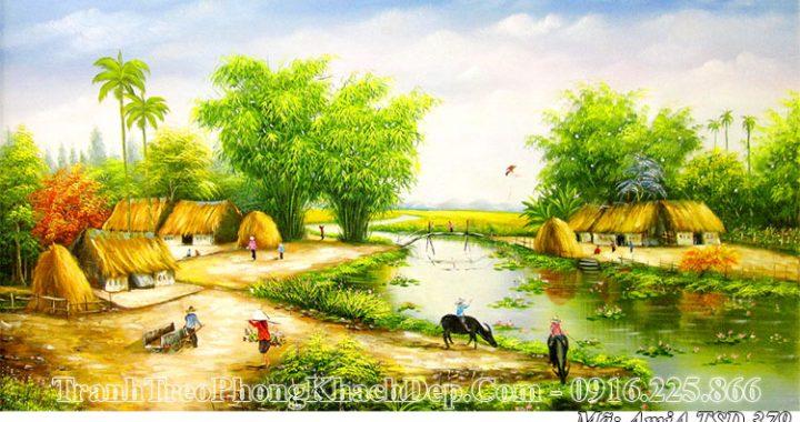 Tranh AmiA 379 sơn dầu vẽ cảnh quê hương