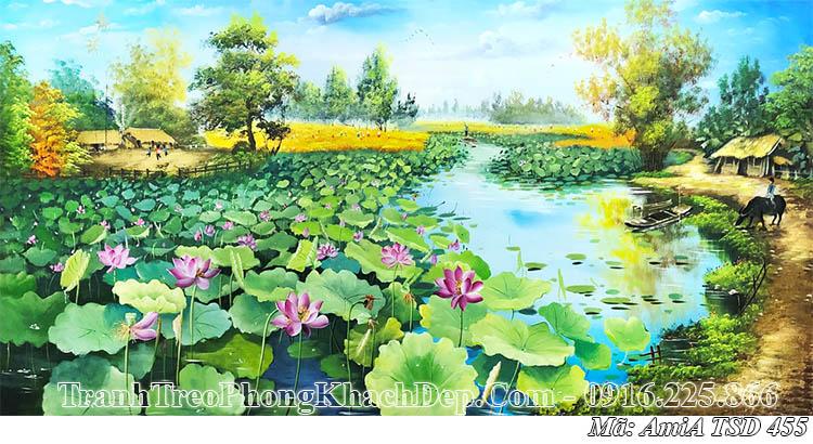 Tranh vẽ khúc sông quê hương đầy hoa sen AmiA 455