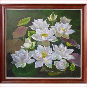 Tranh sơn dầu hoa Sen trắng tinh khôi AmiA TSD 359