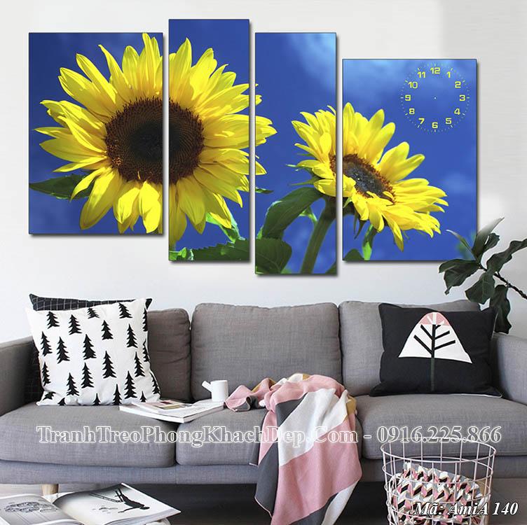Tranh hoa hướng dương đẹp AMiA 140 treo ở phòng khách