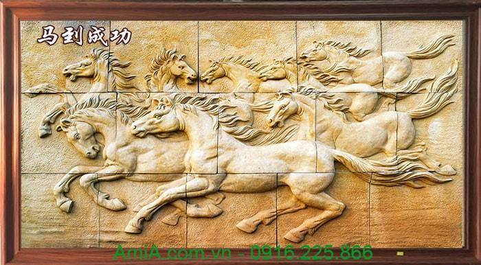Buc tranh ma dao thanh cong 3D op go hien dai AmiA 1374 treo Tet y nghia