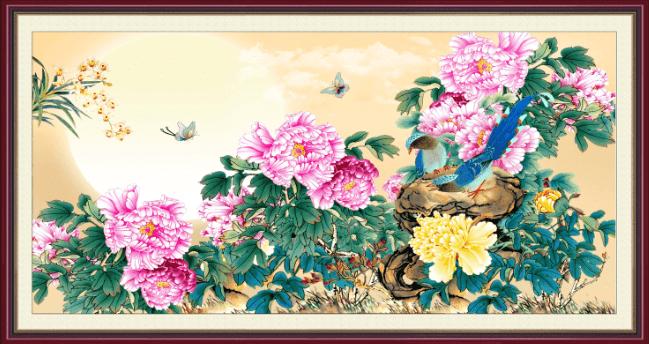 Dam cuoi nen tang buc tranh hoa mau don va doi chim y nghia AmiA 1092