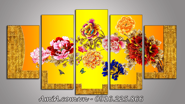 Tranh hoa mau don ghep bo 5 tam kho lon AmiA 1351