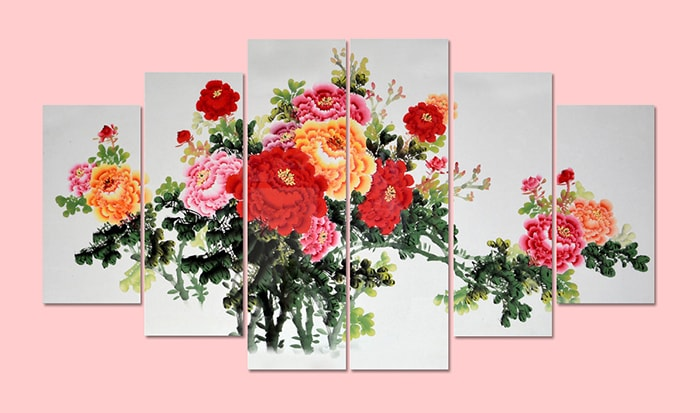 Tranh hoa mau don in gia son dau ghep bo AmiA 1382
