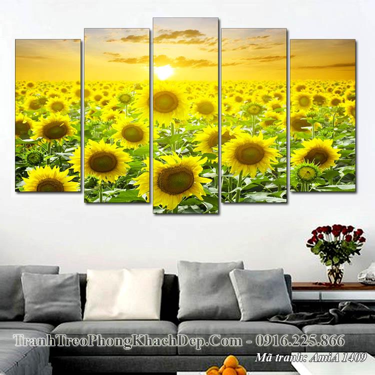 Tranh phong cảnh đồng hoa hướng dương AmiA 1409 treo phòng khách
