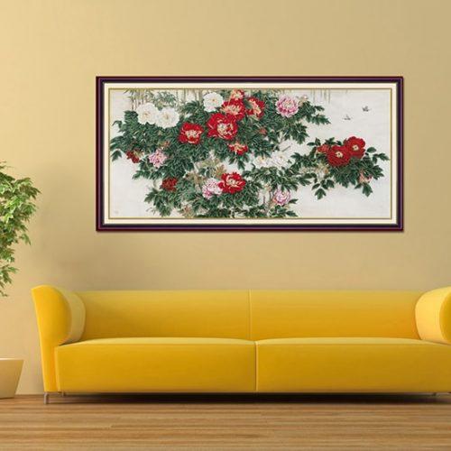 Tranh treo tuong kho lon hoa mau don o phong khach AmiA 1398