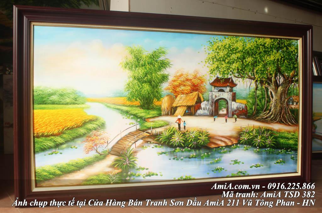 Tranh sơn dầu vẽ phong cảnh làng quê Việt Nam AmiA TSD 382