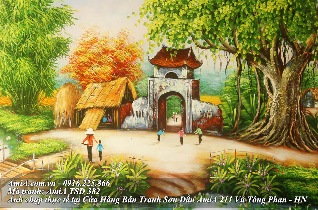 Tranh son dau ve canh sinh hoat o nong thon