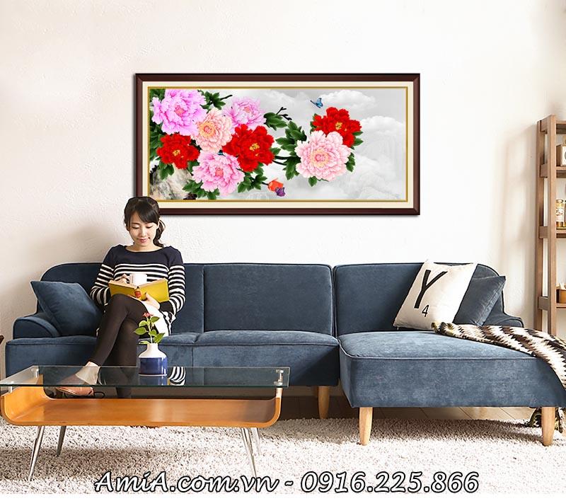 Tranh hoa mau don 8 bong y nghia treo phong khach