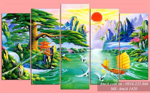 Tranh phong canh thuyen buom song nuoc huu tinh AmiA 1420