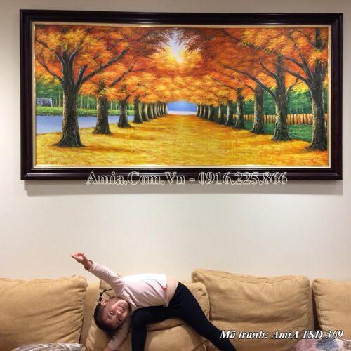Tranh sơn dầu AmiA 369 hàng cây mùa Thu