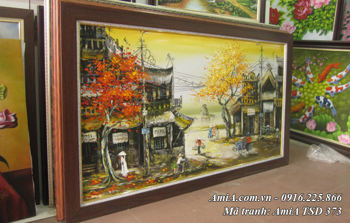 Hình ảnh tranh phong cảnh hồ gươm tháp rùa sơn dầu TSD 373 lên khung
