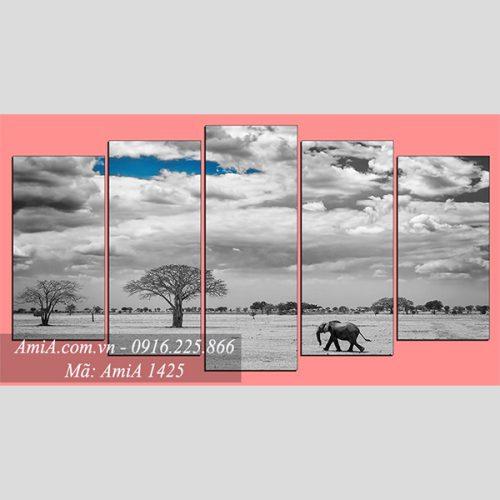 Tranh treo phong khach den trang phong canh hoang mac AmiA 1425