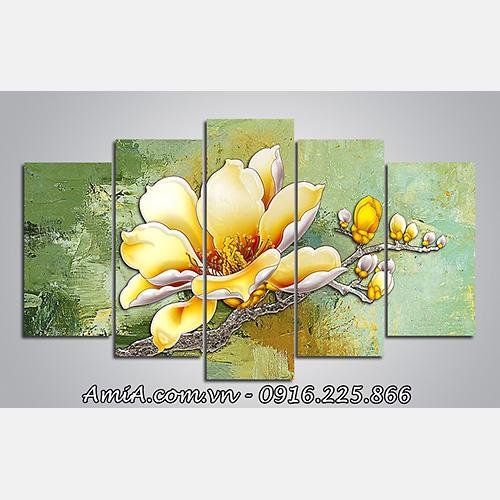 Tranh treo phong khach dep hoa moc lan gia son dau AmiA 1419
