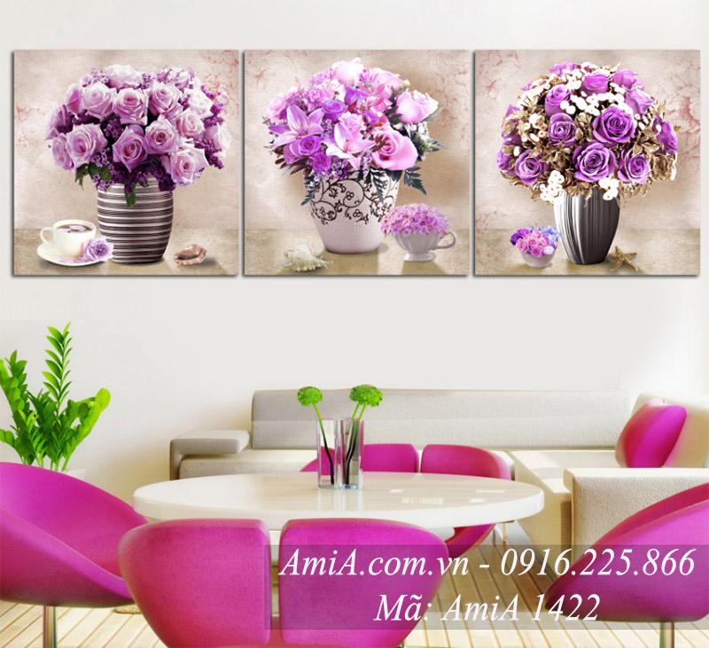 Tranh treo tuong binh hoa tim quy toc AmiA 1422