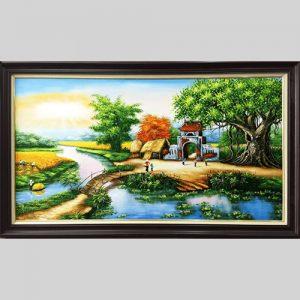 Ve tranh phong canh que huong bang son dau TSD 382
