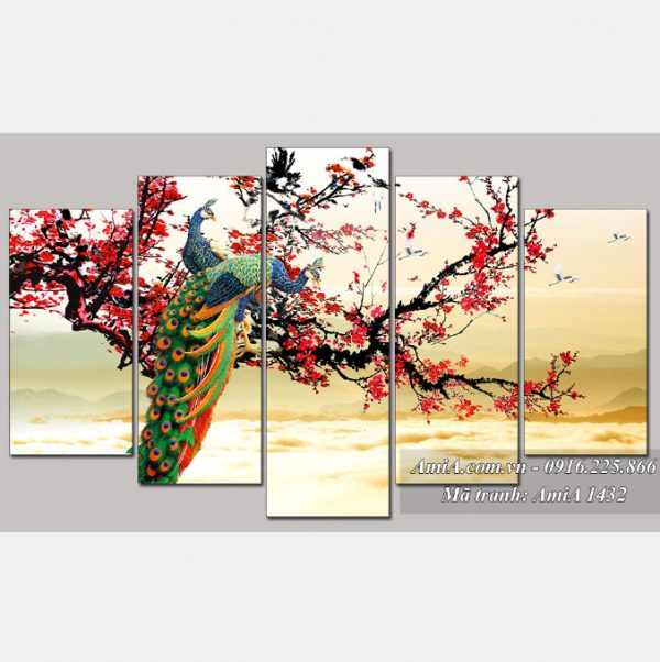 Tranh treo phong khach vo chong chim cong hanh phuc AmiA 1432