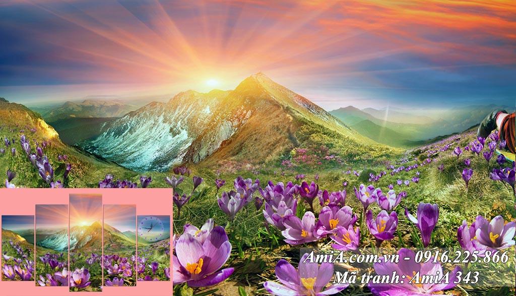 Tranh phong canh dep Nhat Xuat Thien Son mat troi moc tren nui