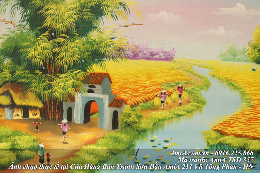 Buc tranh ve phong canh que huong don gian mua gat lua