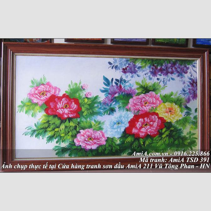 Tranh son dau hoa mau don treo phong khach y nghia TSD 391